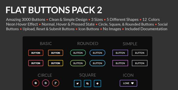 Flat Buttons Pack 2 . Amazing 3000 flat buttons. All buttons you need in one pack. Transparent background and hover NEON effect. To see this effect, click live