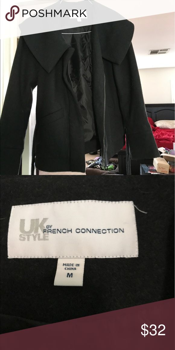 French Connection Coat Black wool coat with lining, very comfortable, zip front with waist tie. In very good condition. French Connection Jackets & Coats