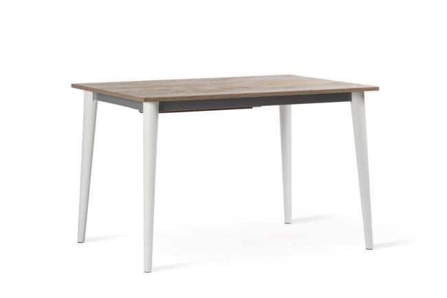 Tavolo in legno allungabile con base in laccato bianco
