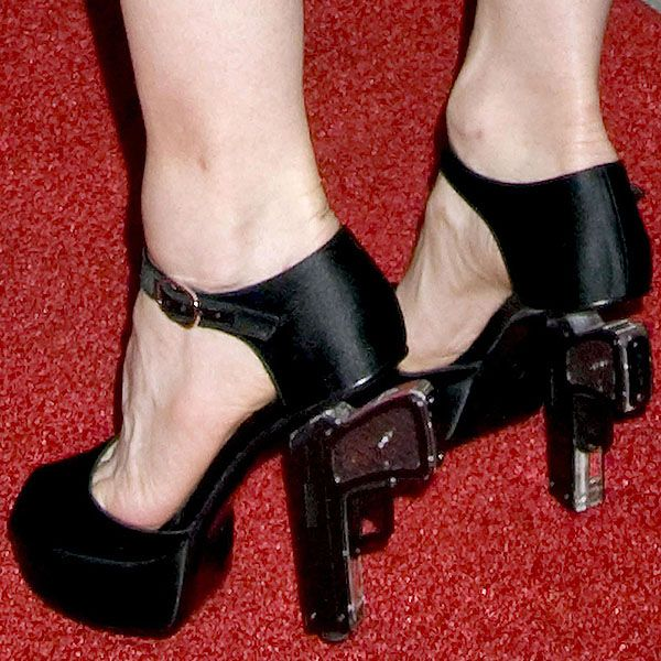 Madonna wearing the Chanel gun heels at the Cinema Society and Dolce & Gabbana Host a Screening of 'Filth and Wisdom' at The Landmark Sunshine Theater in New York City on October 13, 2008