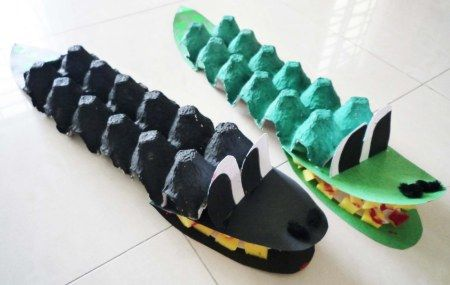 Crocodiles made from egg cartons! Fun craft to do with or for kids.