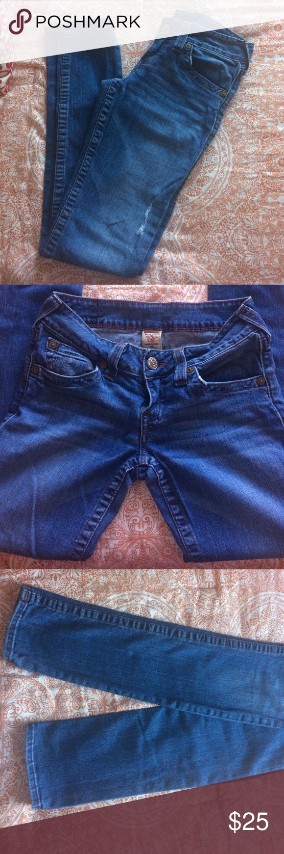 True Religion Jeans! Like new! Only worn twice! Size 28! Straight leg/skinny cut. Only selling because they are too big! True Religion Jeans Skinny