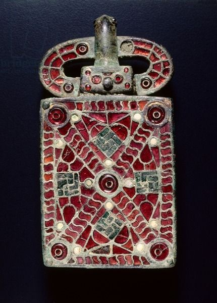 Visigothic Belt Buckle, c. 525-560 CE. Bronze with garnets, glass, mother of pearl, gold foil, traces of gilding; bronze and glass.Tumblr