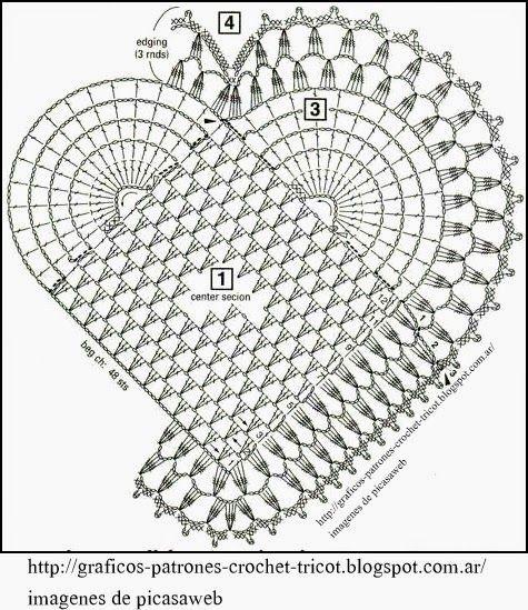 PATRONES - CROCHET - GANCHILLO - GRAFICOS: GRÁFICOS PARA TEJER A CROCHET UNOS LINDOS CORAZONES PATTERNS - CROCHET - CROCHET - GRAPHICS: GRAPHICS CROCHET KNIT A FEW CUTE HEARTS