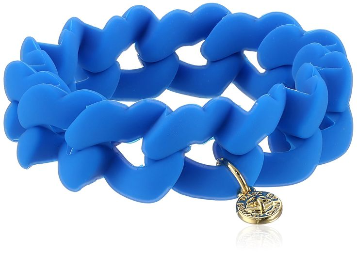 MARC BY MARC JACOBS Electric Blue Lemonade Haute Mess Rubber Turn Lock Stretch Bracelet. MARC BY MARC JACOBS WOMENS JEWELRY. Imported.