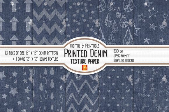 Printed Denim Texture Digital Paper by JSquarePresents on Creative Market