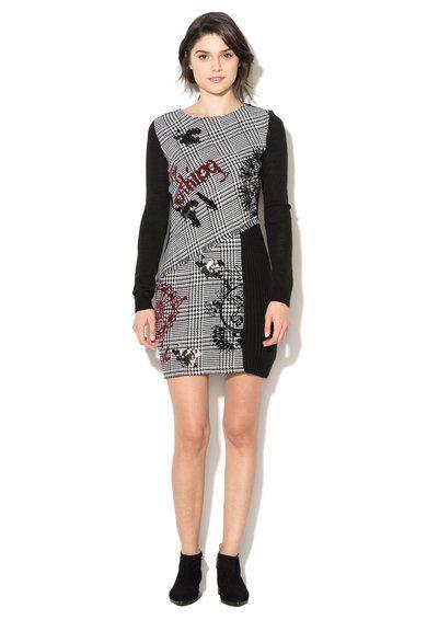 Desigual Rochie tricotata negru cu alb si imprimeu Madrid Femei image_1