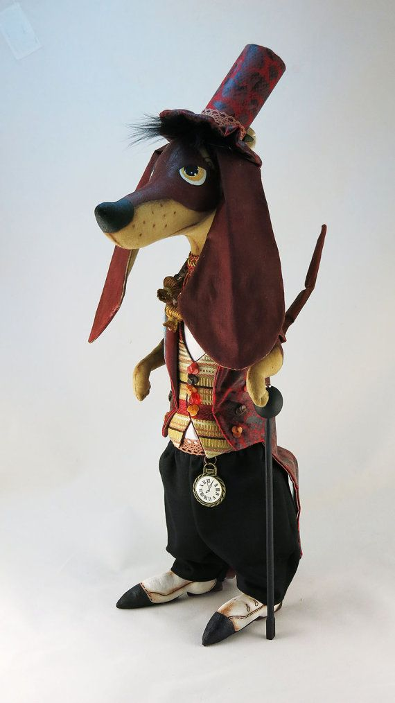 "Brown dachshund in red-burgundy tailcoat  18,5"",lord,Interior doll,OOAK art doll,dog doll,soft sculpture dachshund, animal decor,buddy dog"