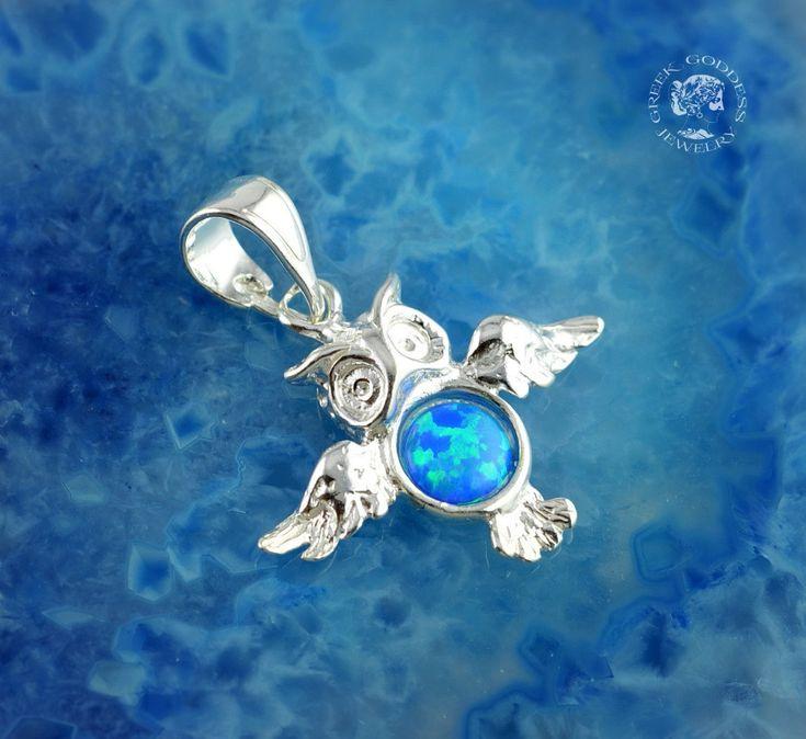 owl blue opal silver pendant, owl pendant, silver owl, blue opal pendant, owl, greek pendant, greek jewelry, blue opal by GreekGoddessJewelry on Etsy