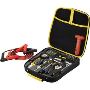 Highway Deluxe Roadside Kit with Tools-Car trouble?  With this 44-piece professional automotive set you will be on your way home in no time.  This set consists of an adjustable wrench, long nose pliers, tape, brush, razor, tire gauge, screw driver handle with three adaptors, 19 bits in bits holder and adapter, 11 sockets, electrical tape, tire brush, jumper cables, and window breaker with seat belt cutter.  Set comes in rubber soft touch EVA blow molded storage case.
