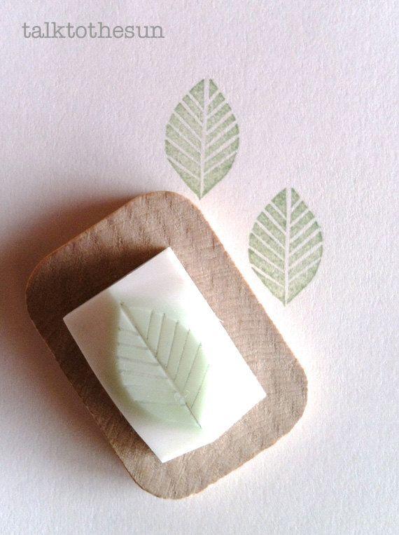 leaf rubber stamp. leaf hand carved rubber stamp. door talktothesun, $6.00