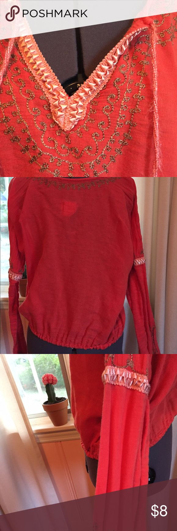 Free People festival blouse Orange color. Light fraying on strings as shown in first picture Free People Tops Blouses