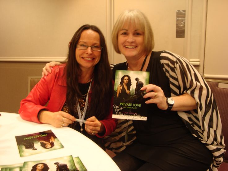 The lovely Maree Anderson and me at the RWNZ 2014 book signing: - I love her description :-) Author Toni Kenyon (left) and fan (me!)