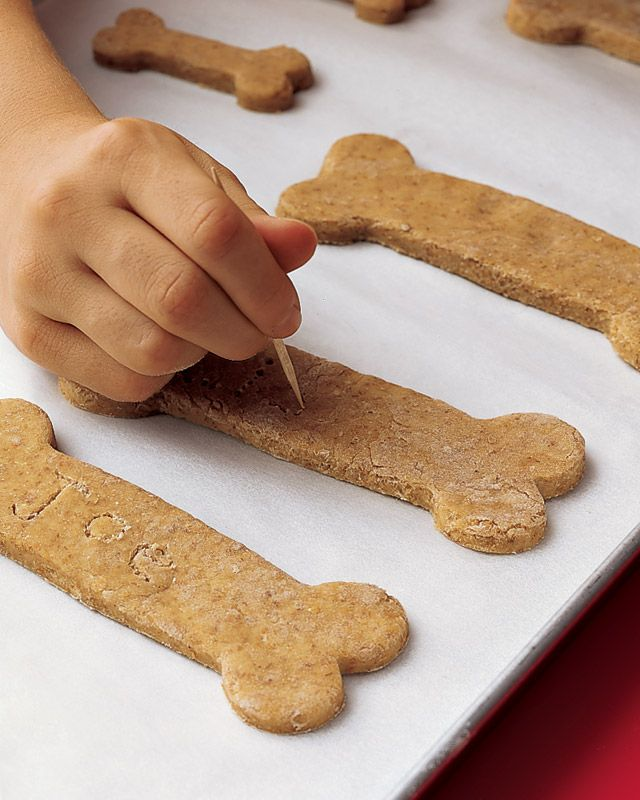 Easy to make & they're better for your pooch than store bought snacks.    This also makes a GREAT gift for a dog lover.  Print up the recipe on card stock, cut it out & decorate (scrapbook corner-cutters, stickers, etc.) and tie it with a pretty ribbon to a dog-bone cookie cutter.