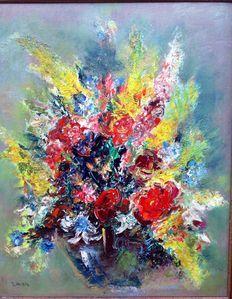 Ernst Huber - Natura morta di fiori nel vaso blu