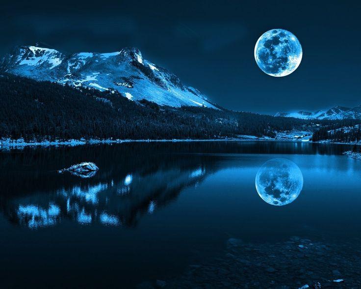 луна, горы, река, снег, тайга, ночь