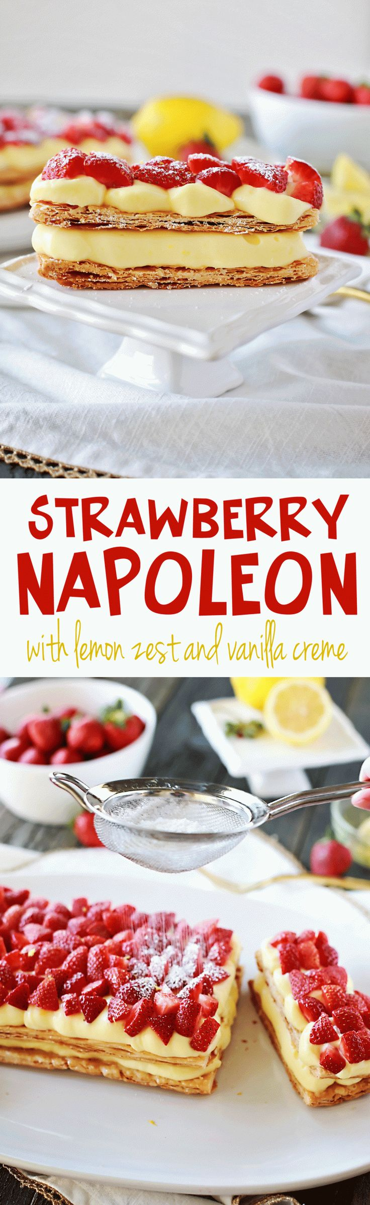 Strawberry Napoleon recipe by Flirting with Flavor! So easy and delicious to make, plus uber beautiful!