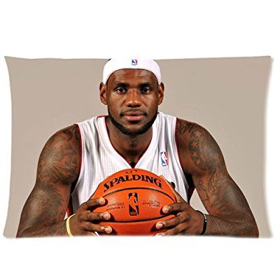 Atnee Basketball Design Handsome LeBron-James Cotton And Polyester Rectangle Zippered Pillowcases Case 20 by 30 Inch