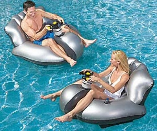 "Motorized ""bumper boats"" for the pool"