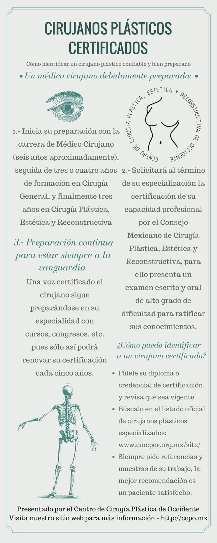 Conoce el proceso de certificación de un médico cirujano plástico y descubre fácilmente si el médico que te atenderá está certificado (como nuestro doctor Jesús González Castanedo) buscándolo en este listado: http://www.cmcper.org.mx/site4/index.php/directorio-y-mapa/consulta-especialistas-certificados