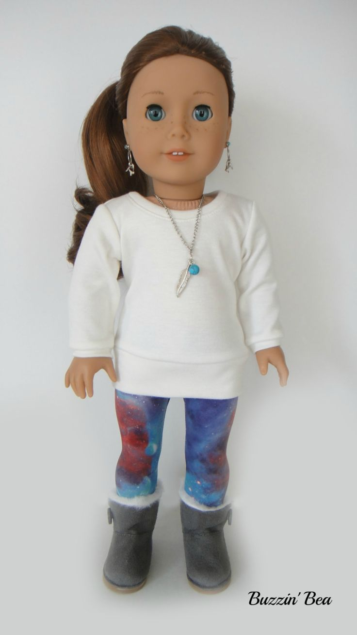 Galaxy Leggings, Cream Sweater and Feather Necklace - American Girl Doll Clothes