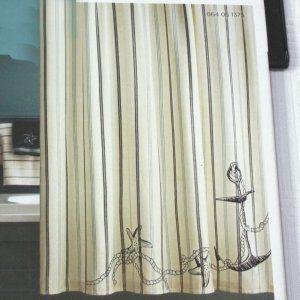 Target Home Coastal Fabric Shower Curtain Nautical Beach Blue Black White Stripe Shower