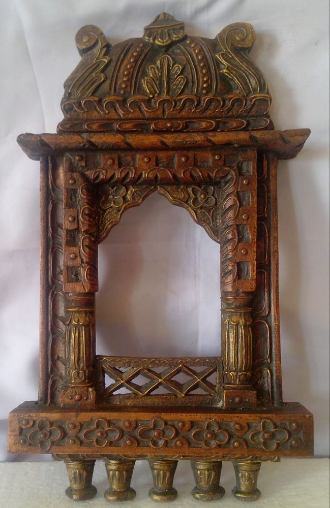 Old Maharaja Jharokha Wood Carving Picture Frame Emboss