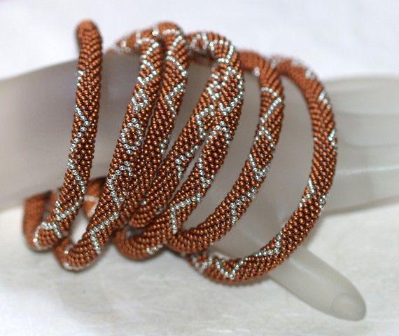 Copper Mine - Silky Smooth Metallic Dark Copper and Shiny Silver Bead Crochet Necklace  #handmade #jewelry