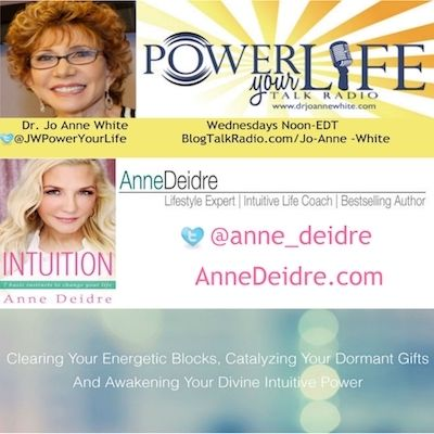 June 28th @ 12 pm ET Call in # 805-285-9790 I'm looking forward to a great interview with Anne Deidre on the Power Your Life Radio Show. A wonderful, savvy guest on Lifestyle and Intuition Life Coaching.