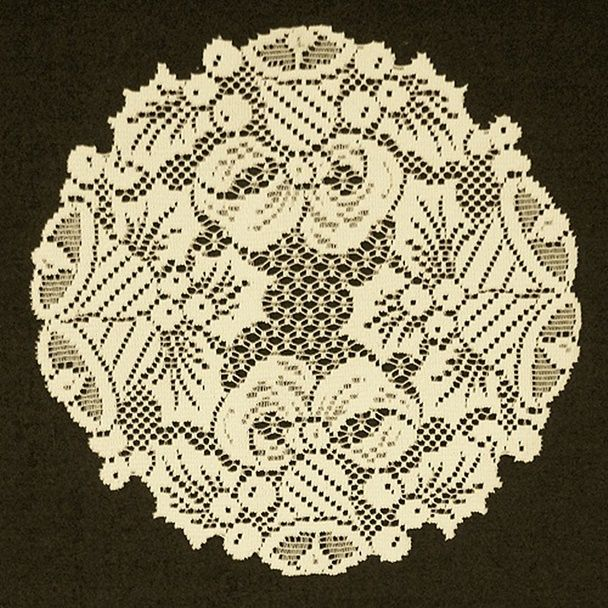 Doilies Bells and Holly Christmas Doily Ivory 12 Round. Also available in white.