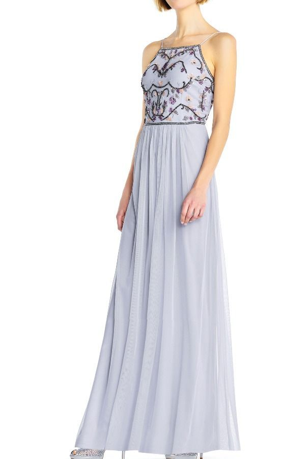Adrianna Papell Serenity Tulle Halter Gown With Multicolor Floral Poshare Dresses Adrianna Papell Dresses Designer Dresses Online