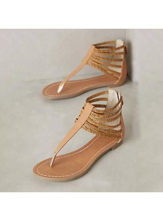 Damen Kunstleder Flascher Absatz Sandalen Flache Schuhe Peep Toe Slingbacks Mit Reißverschluss (087207034)