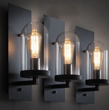 LOFT Industrial Clear Glass Iron Wall Sconce - contemporary - wall sconces - new york - PHOENIX LIGHTING