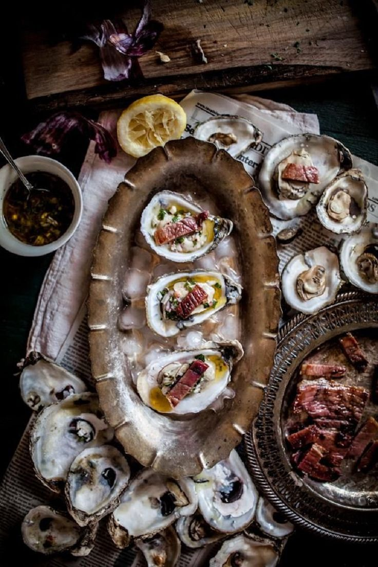 Grilled Oysters on the Half Shell with Grilled Proscuitto & Mignonette -