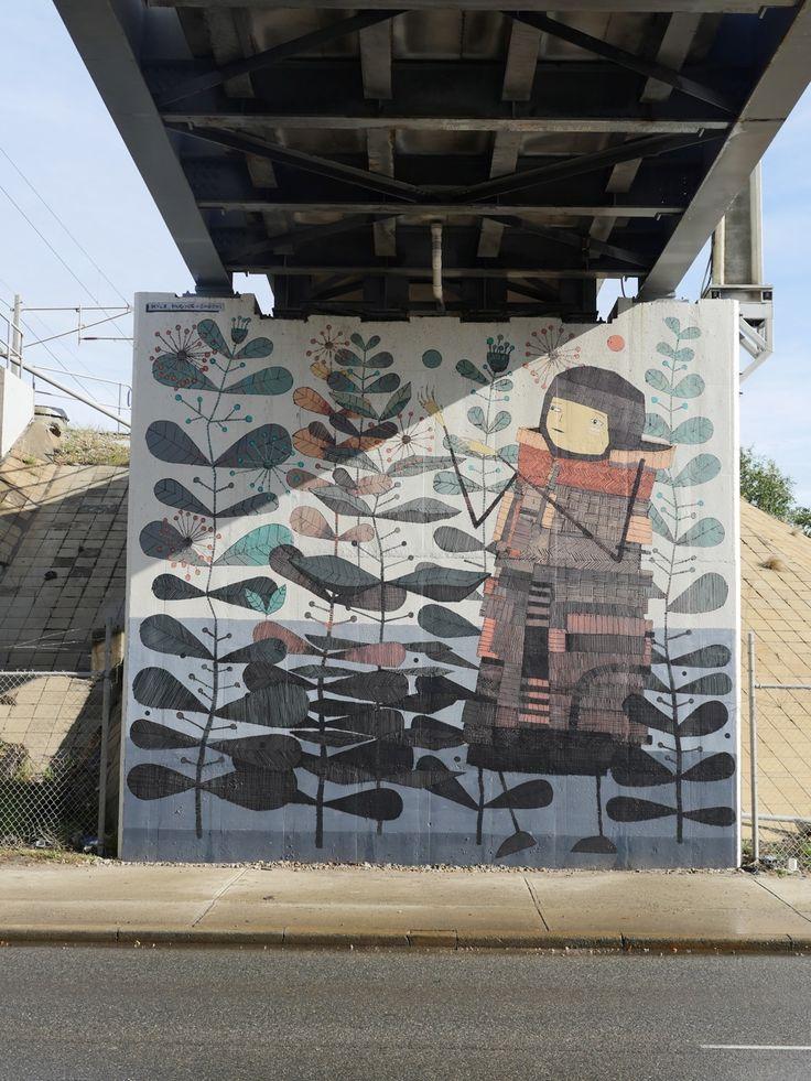 @sherriewilsonprojects  #kylehughesodgers #mural #fremantle #freo #streetart  http://www.sherriewilsonprojects.com/projects/underline_|_rail_bridge_project/