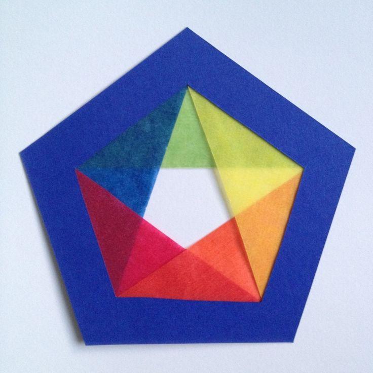 Transparant pentagon regenboogkleuren groot