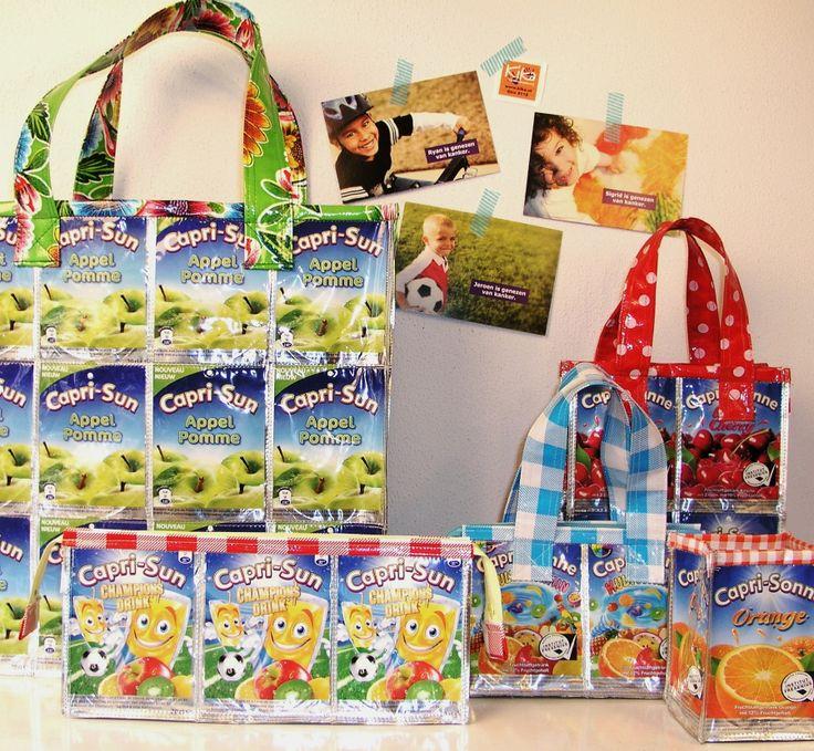 Deze leuke tassen en etui's zijn gemaakt van lege Capri Sun drinkpakjes. Een deel van de opbrengst gaat naar de stichting KiKa, Kinderen kankervrij http://www.studioroodenburg.nl/