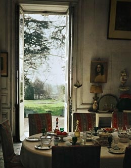Dining room in George Sand's country house Nohant, where her lover Frederic Chopin spent many summers resting and composing. Manoir de George Sand, Nohant, France