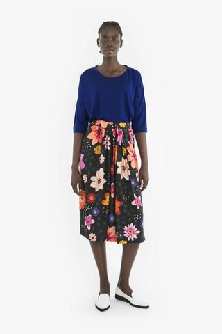 LOIS SKIRT from Obus Spring17 | A bright black and multicolour floral print maxi skirt with an elastic waist and a tie at front.