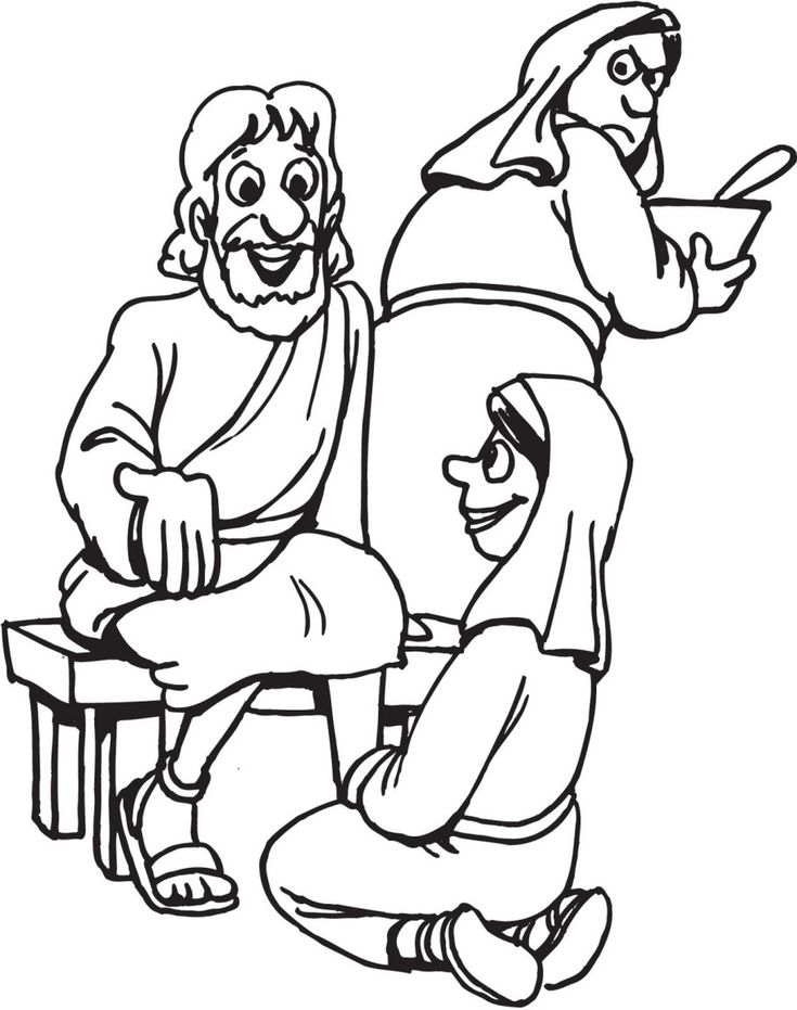 Download Stylish Mary And Martha Coloring Page For Free