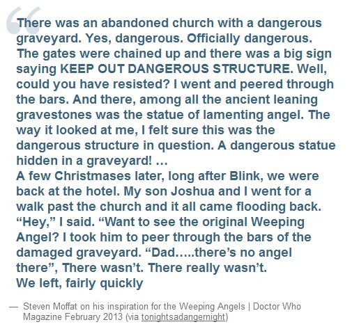 The history of the Weeping Angels, as told by Steven Moffatt.