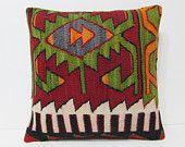 large kilim pillow 20x20 decorative cushion red knitting pillow cover oversized floor pillow red modern pillow green gypsy pillow case 21113