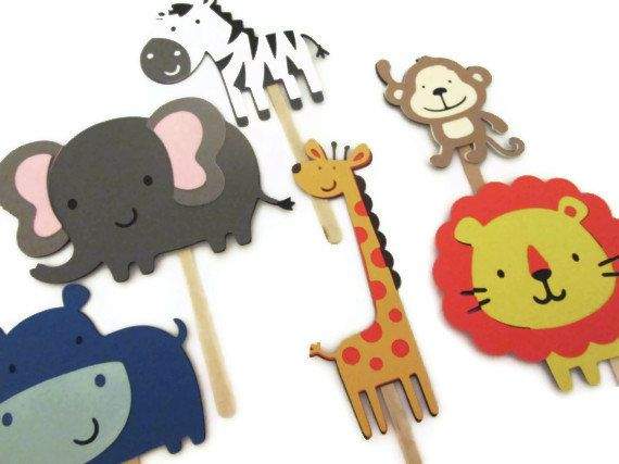 Set of 12 Safari Animals Cupcake Toppers - Zoo Themed Party, Zoo Babies, Zoo Baby Showers, Kids Birthdays on Etsy, $10.25