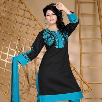 Black Cotton Readymade Churidar Kameez