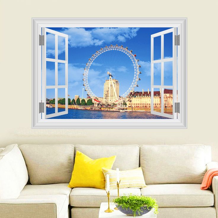 Coca-Cola London Eye Wall Stickers Home Decor Living Room 3D Window Millennium Wheel Scenery Wall Decals PVC Mural Posters Art #Affiliate