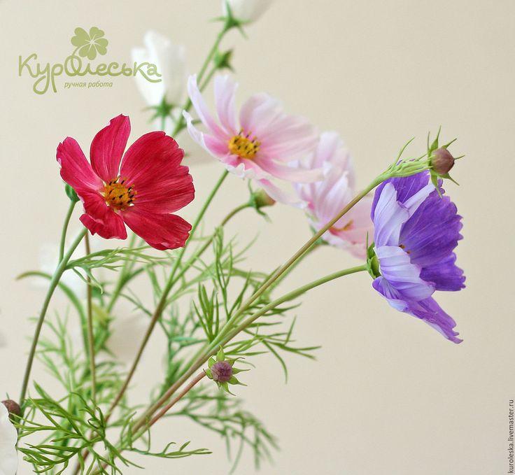 Купить Космея из холодного фарфора. - фуксия, сиреневый, розовый, фиалетовый, летние цветы, космея