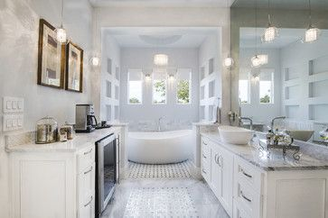 Love this master bathroom. Mini fridge stocked with wine and a coffee maker. What else could you ask for?!?! Johnson Residence transitional bathroom