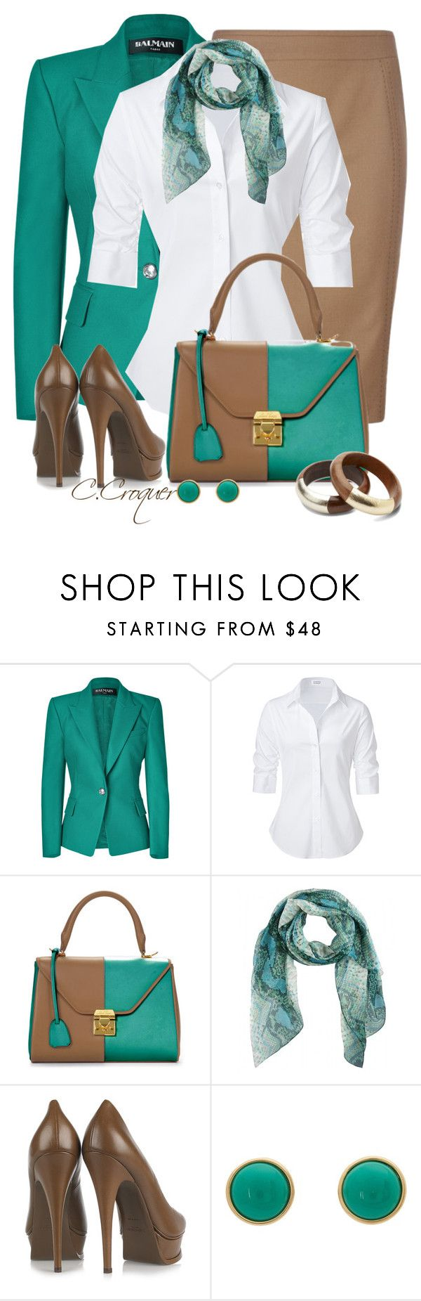"""""""Mark Cross Colorblock Bag"""" by ccroquer ❤ liked on Polyvore featuring Balmain, Ted Baker, Steffen Schraut, Mark Cross, Yves Saint Laurent, Marc by Marc Jacobs and TOMS"""