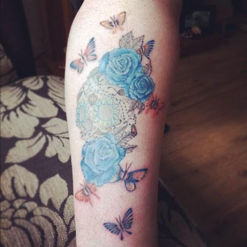 beautifulThird Tattoo, Fyeahtattoo Com, Skull Tattoo, Tattoo Pattern, Hues Nguyen, Tattoo Artists, Tattoo Removal, Tattoo Design, Blue Rose