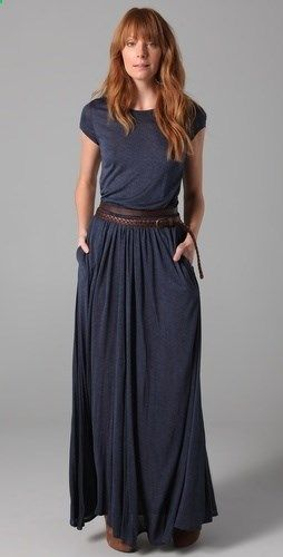 maxi skirt with shirt of the same shade, looks like a dress when tucked in and with belt